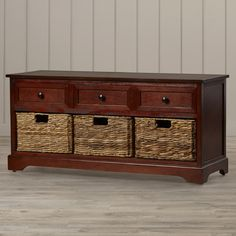 Features:  -Material: Pine.  -Drawers: Manufactured wood.  -Color: Cherry; wood; red.  -Solid back: Yes.  -McKinley collection.  -Baskets are removable.  Style: -Coastal/Traditional.  Distressed: -Yes