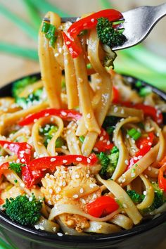 Asian Sesame Chicken and Noodles via DelishDish.com