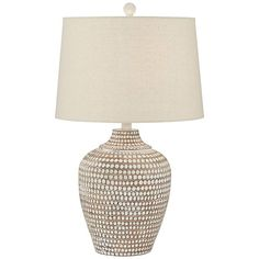 The Pacific Coast Lighting Alese Table Lamp makes a great addition to coastal, eco-chic, and minimalist themed spaces. The base of the lamp. Rustic Table Lamps, White Table Lamp, Ceramic Table Lamps, Chandeliers, Table Decor Living Room, Dining Room, House Lamp, Contemporary Table Lamps, Entryway