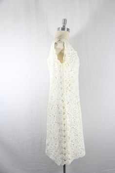 1960's XL Dress  Sleeveless White Ribbon by VintageFrocksOfFancy, $90.00