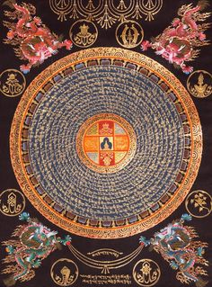 Tibetan mandala with Sanskrit mantras written in concentric circles with the quaternity in the center by Carl Jung Tibetan Mandala, Tibetan Art, Tibetan Buddhism, Buddhist Art, Motif Oriental, Vajrayana Buddhism, Spiritus, Pentacle, Sacred Art