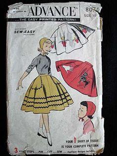 Vintage Girls Poodle Skirt Sewing Pattern Advance – The Best Vintage Clothing Skirt Patterns Sewing, Sewing Patterns For Kids, Sewing For Kids, Vintage Sewing Patterns, Skirt Sewing, Clothing Patterns, Retro Mode, Mode Vintage, Vintage Girls