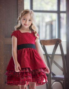 Persnickety Parisian Lisa Dress for Girls in Red PREORDER