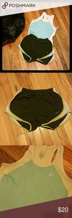 Nike Shorts & Active Short Bundle Size: Small : Green shorts and light green/teal top! Perfect for running, hiking, or going for a walk! Both are made from Dry Fit Material.  Nike top has noticeable wear under arms. Oldies but goodies and still have some good months of training in them. Nike Shorts