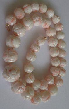 Massive carved Angel Skin Coral necklace