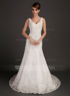 A-Line/Princess V-neck Chapel Train Satin Tulle Wedding Dress With Lace Beading (002015557)