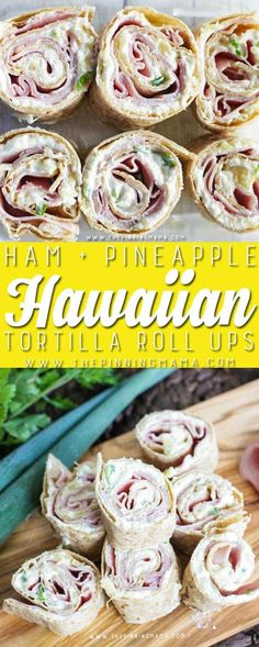 Ham & Pineapple Tortilla Roll Ups- One of the best appetizers I have made! You could use these in a lunch box too as something so much yummier than a boring old sandwich! They have pineapple, cream cheese and ham all rolled up together. It sounds differen Bite Size Appetizers, Finger Food Appetizers, Appetizers For Party, Appetizer Recipes, Hawaiin Appetizers, Delicious Appetizers, Pinwheel Sandwiches, Wrap Sandwiches, Pinwheel Recipes