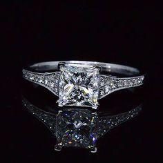 1.30 Ct. Princess Cut Diamond Pave Engagement Ring F,VVS2 GIA