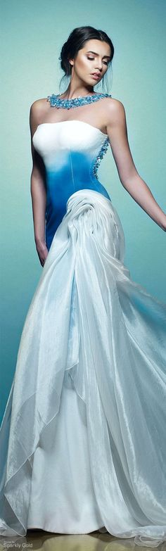 Saiid Kobeisy ~ Spring White Strapless Gown w Blue Tie Dye Waist + Gathered Fabric Detail 2015