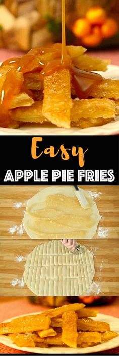 The Most Incredible Baked Apple Pie Fries: Delicious, crispy and healthy apple fries tossed with cinnamon sugar and baked to perfection golden brown color, drizzled with caramel sauce! All you need is a few simple ingredients: store bought pie crust, apple pie filling, cinnamon and sugar, nutmeg and milk. Quick and easy recipe, party desserts. Vegetarian. Video recipe. | Tipbuzz.com
