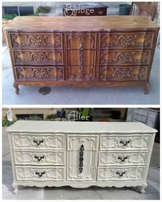 Ornate Vintage Dresser in Distressed Off White | Dresser