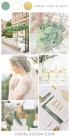 Wedding Inspiration: Green, Ivory & Gold – Foxblossom Co. Wedding inspiration: green, ivory & gold – Foxblossom Co. Gold Ivory Wedding, Olive Green Weddings, Olive Wedding, Gold Wedding Colors, Sage Green Wedding, Winter Wedding Colors, Gold Wedding Theme, Wedding Color Schemes, Wedding Themes