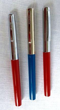3 Vintage Sheaffer Cartridge Fountain Pens Red Blue Silver Metal Cap #Sheaffer