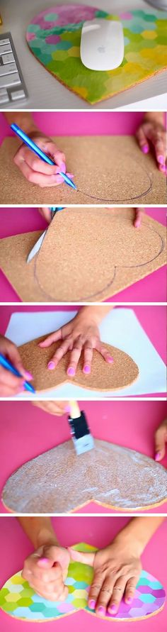 Heart Mouse Pad | DIY Tumblr Inspired School Supplies for Teens you need to try! Crafts For Teens, Crafts To Sell, Diy For Kids, Fun Crafts, Diy And Crafts, Teen School Supplies, Tumblr School Supplies, Diy Tumblr, Diy Mouse Pad