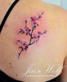Flores de Cerezo estilo Acuarelas por Javi Wolf