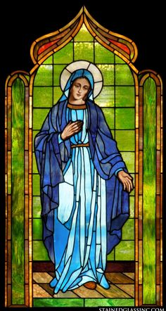 """Holy Mother"" Religious Stained Glass Window - My Magnificent Ideas Stained Glass Church, Stained Glass Paint, Stained Glass Windows, Window Glass, Religious Paintings, Cross Paintings, Religious Art, L'art Du Vitrail, Jesus Art"
