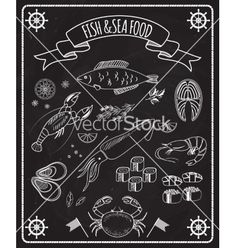 Fish and seafood blackboard elements vector  by neyro2008 on VectorStock®