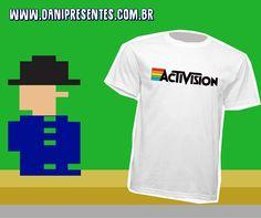 Para os fãs de games antigos!    http://www.danipresentes.com.br/camiseta-activison    #danipresentes #nostalgia #anos80 #activision #atari #retrogame