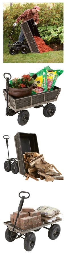 Gorilla Dump Cart - The side panels can be removed to turn the cart into a flatbed cart. Perfect for hauling oversized loads. Farm Gardens, Outdoor Gardens, Lawn And Garden, Garden Tools, Side Panels, The Ranch, Dream Garden, Amazing Gardens, Backyard