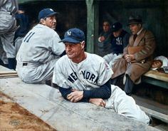 On this day in 1939, Lou Gehrig took himself out of the Yankee lineup, ending his streak of 2,130 consecutive games played.  Here's the great man in the visiting dugout at Briggs Stadium during that cold afternoon.