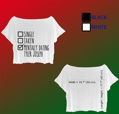 tyler joseph twenty one pilots shirt crop top tee for girls or women josh dun  #Unbranded #CropTop #Casual
