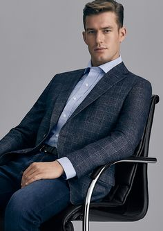 Fabric: Merino Wool (70%), Cotton (24%) and Cashmere (6%) Body Fit: Classic Colour: Dusty Blue with Tonal Overcheck  With a balanced lapel, soft shoulder construction and fully-lined, Dayton embodies casual elegance for the Office or after-hours.