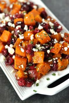 Honey Roasted Butternut Squash with Cranberries and Feta: This savory sweet side dish is perfect for the holidays and loaded with Fall flavor!