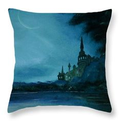 Throw Pillow, home,accessories,sofa,couch,children's,bedroom,decor,cool,beautiful,fancy,unique,trendy,artistic,awesome,fahionable,decorative,unusual,theme,gifts,presents,for,sale,design,ideas,items,products,color,blue,turquoise,teal,fantasy,castle,fine art america