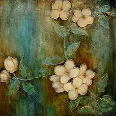 Pretty hand painted Coral Dogwood flowers popping from hues of gold and teal.