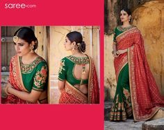 Stride in style! Immerse yourself in tradition, peppered zestfully with modern twists, as you drape yourself in this royal half and half saree in classic hues of red and green. Flanked by a Gharchola-inspired, checkered red pallav, the gorgeous green, elegantly embroidery saree is a must have for all new brides and graceful ladies of all ages, set to attend weddings and functions.
