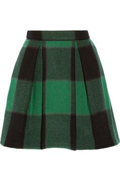 fall plaid // SEA | Buffalo plaid stretch-wool mini skirt | NET-A-PORTER.COM