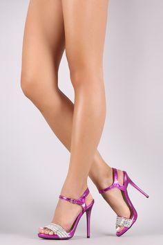 Qupid Jeweled Open Toe Ankle Strap Dress Heels