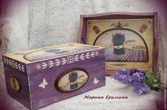 """Купить Набор для кухни """"Лаванда 3"""" - сиреневый, лаванда, лавандовый цвет, поднос лаванда"""