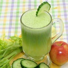 The Great Alkaline Juice Recipe.  Great for an uneasy stomach! Also great source of chlorophyll, a phytochemical that can help build red blood cells. Try this juice now..  Ingredients: 1 cup of spinach, 1 cucumber, 2 stalks of celery including leaves, 1 apple.