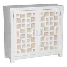 Featuring 2 doors with latticework detailing, this hand-carved media console showcases a white finish and ample storage space.   Product...