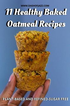 Inspired baked oatmeal ideas that will upgrade your meal prep breakfast routine. Get these healthy oatmeal cups and baked oatmeal bars recipes from Dash of Jazz and jump start your day. Easy batch cooking and meal planning ideas included! #dashofjazzblog #bakedoatmealcups #bakedoatmealrecipeshealthy #bakedoatmealbars #bakedoatmealbreakfast No Bake Oatmeal Bars, Baked Oatmeal Cups, Baked Oatmeal Recipes, Oatmeal Cookies, Oatmeal Breakfast Muffins, Healthy Banana Muffins, Healthy Breakfast Options, Breakfast Recipes, Breakfast Ideas