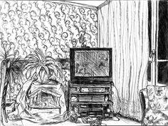 Intérieur d'un appartement, salon avec télévision - Dessin L'Oeil d'Édouard © tous droits réservés
