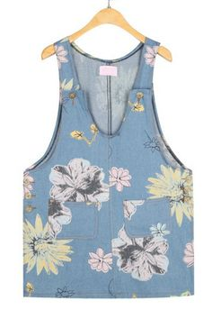 Cute Floral Denim Tank Dress