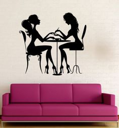 Vinyl Decal Beauty Salon Nail Manicure Hair Spa for Woman Wall Sticker (ig3123)