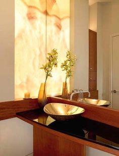 Backlit Onyx Bathroom
