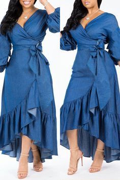 Material: Denim Style: Sweet Pattern Type: Solid Sleeve Style: Regular sleeve Sleeve Length: Long Sleeve Neckline: V Neck Dresses Length: Mid Calf Silhouette: Asymmetrical Elastic: Yes(Elastic) SIZE(IN) US Sleeve Length Bust Waist Hip Length S 8 M 10 L 12 African Attire, African Dress, Dress Outfits, Casual Dresses, Cheap Dresses, Dress Shoes, Denim Fashion, Fashion Outfits, Latest African Fashion Dresses