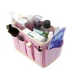 """Universe of goods - Buy """"Cute Dots Desktop Cosmetic Organizer Makeup Storage Boxes Bins Non-woven Wash Accessories Boxes"""" for only USD. Makeup Storage Bins, Cosmetic Storage, Cosmetic Items, Decorative Storage Bins, Fabric Storage Boxes, Storage Containers, Plastic Storage, Makeup Organization, Storage Organization"""