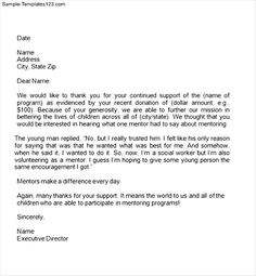thank you letter to donors