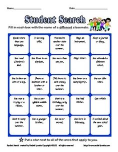 Back to School Ice Breaker: Student Search