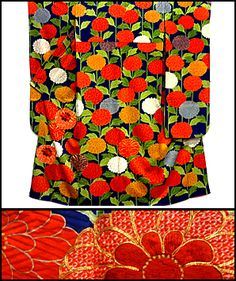 Embroidered Many Mums Kimono From FuruGuru.  Currently available at http://www.wafuku.co.uk