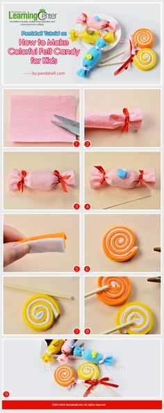 Pandahall Tutorial on How to Make Colorful Felt Candy for Ki.- Pandahall Tutorial on How to Make Colorful Felt Candy for Kids Pandahall Tutorial on How to Make Colorful Felt Candy for Kids - Candy Girls, Kids Crafts, Felt Crafts, Kids Diy, Candy Theme, Candy Party, Candy Land Christmas, Christmas Crafts, Candy Land Costumes