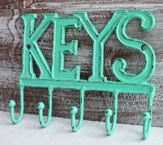 Key Hook Key Holder Aqua / Turquoise Keys Rack by LoweryDesigns