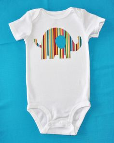 Bright Stripes Elephant onesie by Fit For A Prince. $14