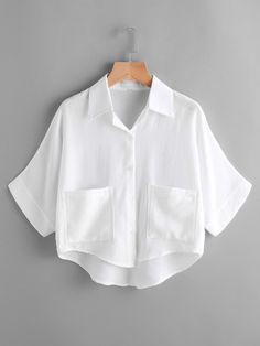 SheIn offers Dip Hem Dual Pockets Front Shirt & more to fit your fashionable needs. Girls Fashion Clothes, Teen Fashion Outfits, Mode Outfits, Fashion Dresses, Fashion Shirts, Crop Top Outfits, Cute Casual Outfits, Vetement Fashion, Mode Style