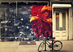 Watching you. Gaia rooster street art mural.  NoLita, New York City.     View my store, email me, or ask for help.